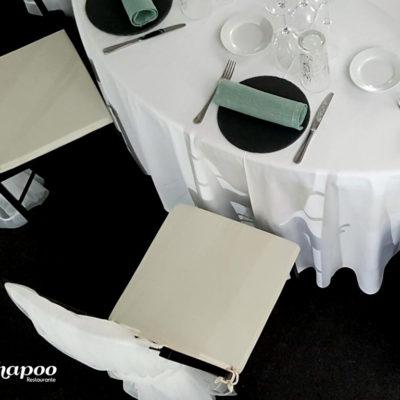 Evento Chapoo. Detalle desde arriba de la mesa