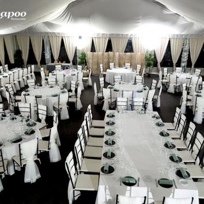 Evento Chapoo. Distribución de las mesas mas mas de 200 personas