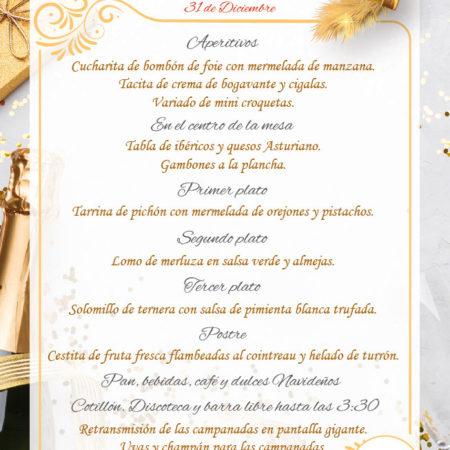 Menu Nochevieja Cotillon y Barra Libre Para adultos