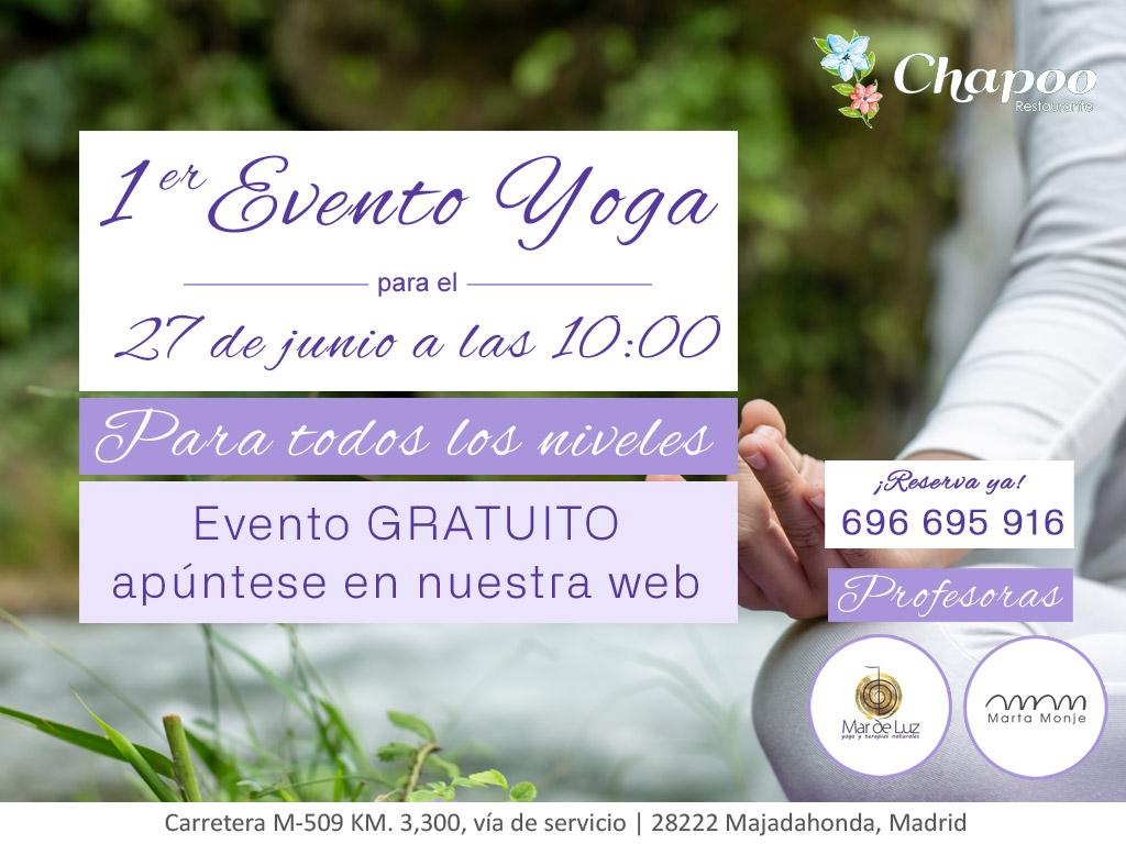 restaurantechapoo evento yoga todos niveles aire libre majadahonda
